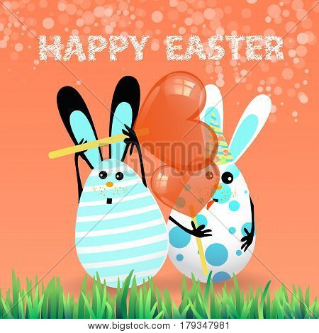 Cute bright easter illustration for your design. Cartoon two funny eggs - rabbits light blue with caramel in the shape of a heart red
