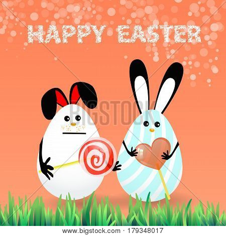 Cute bright easter illustration for your design. Cartoon two funny eggs - rabbits with caramel in a circle shape and a spiral red - white