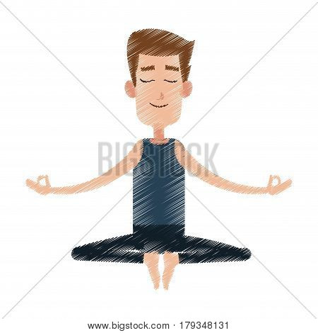 male yogi meditating icon image vector illustration design
