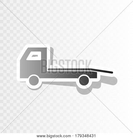Service of evacuation sign. Wrecking car side. Car evacuator. Vehicle towing. Vector. New year blackish icon on transparent background with transition.