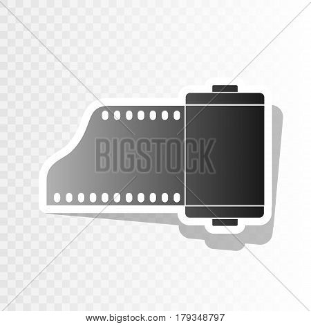 Foto camera casset sign. Vector. New year blackish icon on transparent background with transition.