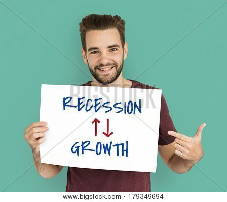 Recession Growth Arrow Up Down Word