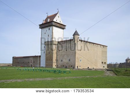 NARVA, ESTONIA - MAY 01, 2015: View of the Herman's castle. April day. Narva, Estonia