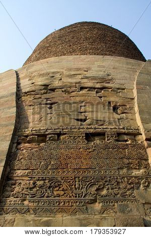 Close-up of design on wall of Dhamekh Stupa in Saranath near Varanasi Uttara Pradesh India Asia