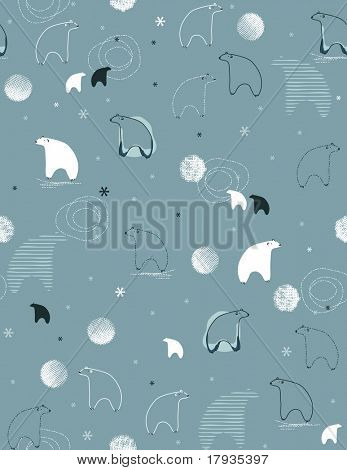 Seamless vector pattern displaying a cute polar bear and a lot of snow