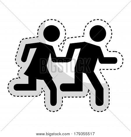 couple running silhouette icon vector illustration design