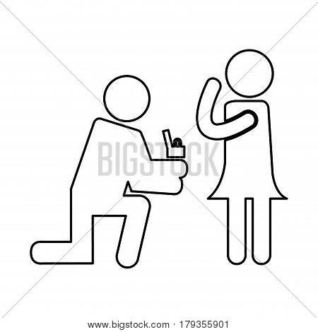 Man asking for commitment silhouette vector illustration design
