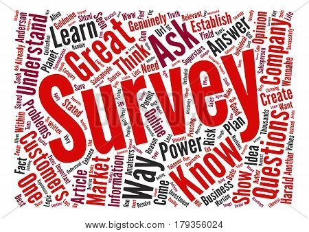 Why Great Companies Survey Martian Logic text background word cloud concept