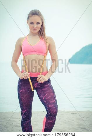 Vintage Photo, Slim Girl In Sporty Clothes With Centimeter On Beach, Sports Lifestyle, Slimming Conc