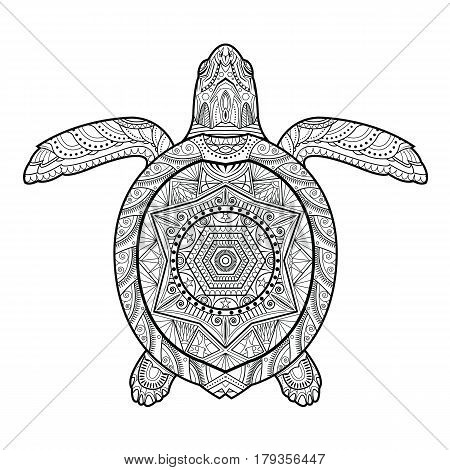 Stylized underwater turtle (tortoise) isolated on white background. Freehand sketch for adult anti stress coloring book page with doodle