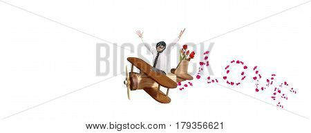 Man aviator in toy wooden plane flies to congratulate on the holiday of love and spring.