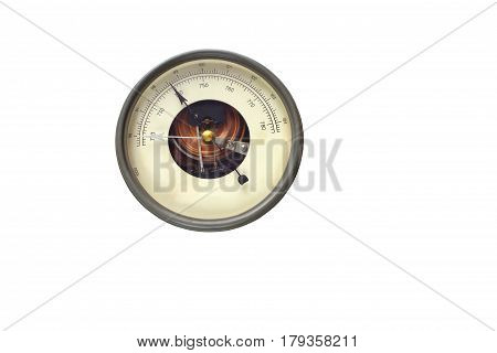 Old round barometer meter isolated over white background, an instrument measuring atmospheric pressure, used especially in forecasting the weather and determining altitude
