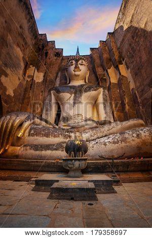 Sukhothai, Thailand - January 16 2017: Seated Buddha Image At  Wat Si Chum Temple In Sukhothai Histo