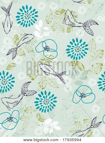Vector seamless pattern displaying Koi fish and textured leaves.
