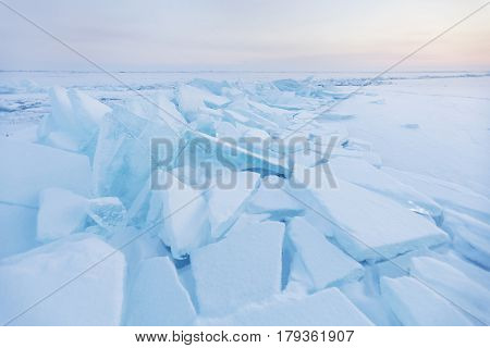 Ice-drift Of Baikal Lake. Turquoise Ice Floe. Winter Landscape.