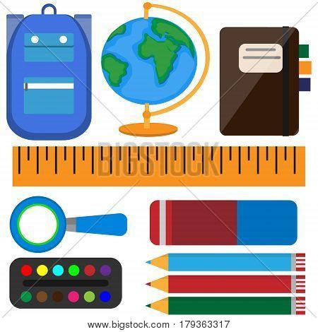 Set school tools. colorful obect. Vector illustration
