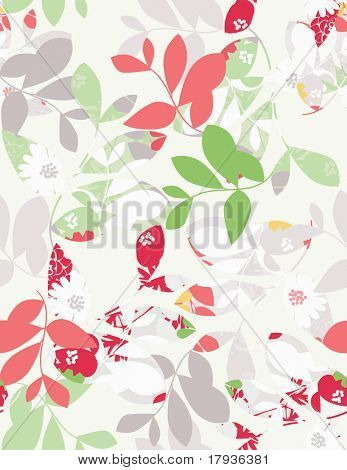 Vector seamless pattern displaying intricate and textured leaves.