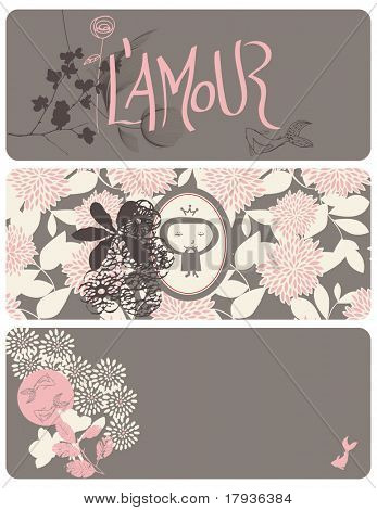 Vector graphic set displaying three different graphics for valentine's day.