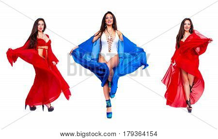 Pretty woman Dancer in blue bathrobe and red luxury lingerie. Isolated on white.