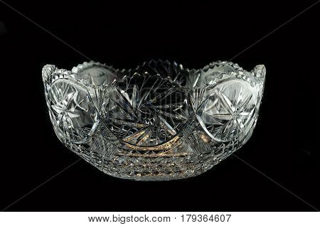 vase from crystal with stars on a black background