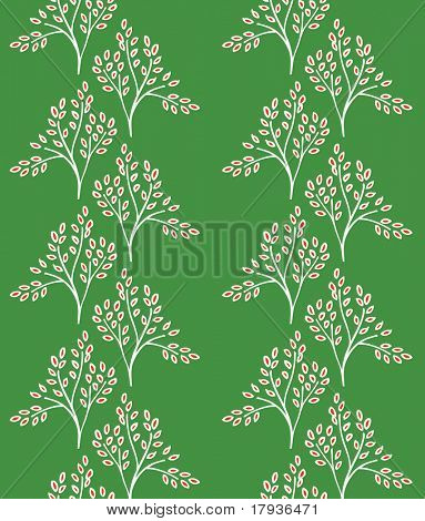Vector seamless pattern displaying a vineyard in Christmas color palette.