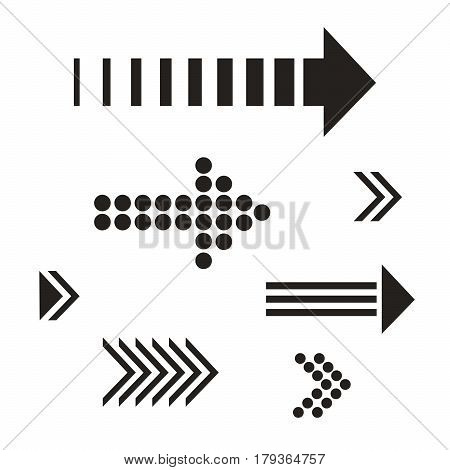 Set black Arrows and directions signs in flat style for business. Vector isolated  arrows on white background. Dynamic arrow symbol. Forward, beginning, play, start.