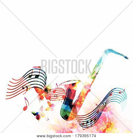 Colorful saxophone with music notes and butterflies isolated vector illustration. Music instrument background for poster, brochure, banner, flyer, concert, music festival