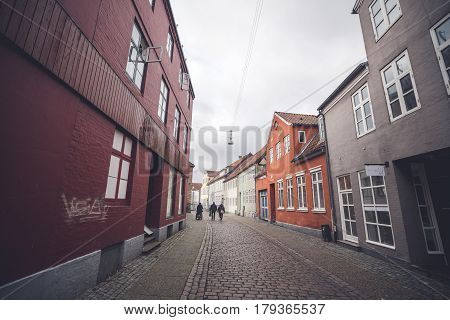 Colorful Buildings On A Cloudy Day