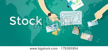 stock certificate paper share of company business money investment finance trading capital vector