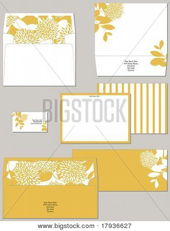 Personal stationery in standard dimensions containing two lined envelopes notecard and business card.