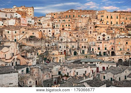 Matera, Basilicata, Italy: cityscape at sunrise of the picturesque old town (sassi di Matera) with the characteristics ancient tuff houses