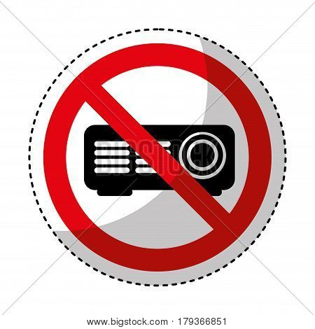 video projector with denied sign vector illustration design