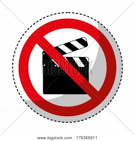 clapperboard with denied sign vector illustration design