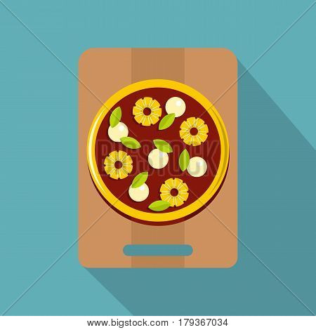 Pizza with ingredients on the wooden board icon. Flat illustration of pizza with ingredients on the wooden board vector icon for web isolated on baby blue background
