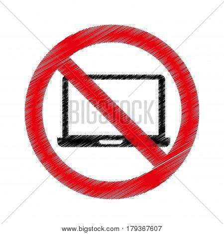 laptop computer with denied sign vector illustration design