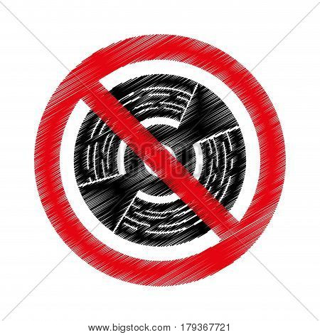 cd with denied sign vector illustration design