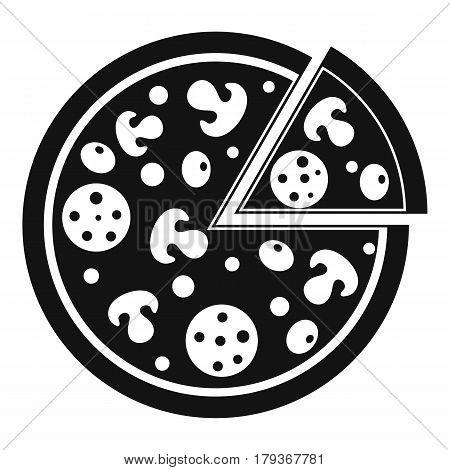 Delicious italian pizza lifted slice one icon. Simple illustration of delicious italian pizza lifted slice one vector icon for web