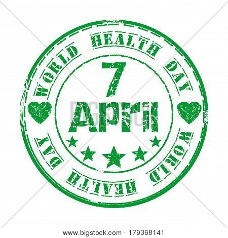 April 7. Green grunge rubber stamp with star, heart and the text World Health Day written inside. World Health Day design. Vector illustration