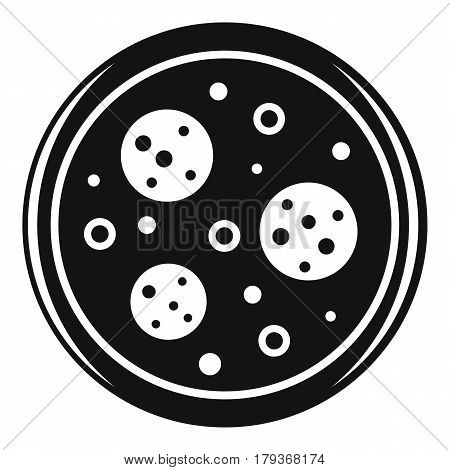Tasty pizza with sausage and olives icon. Simple illustration of tasty pizza with sausage and olives vector icon for web