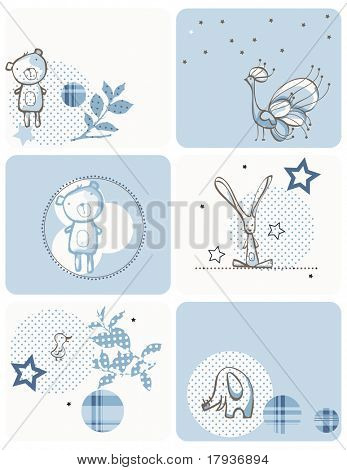 Vector displaying cute little baby animals.
