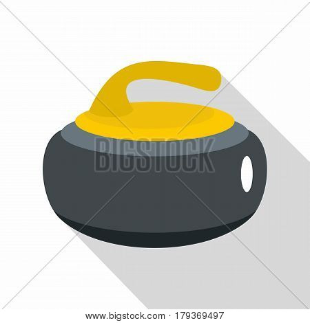 Curling stone with yellow handle icon. Flat illustration of curling stone with yellow handle vector icon for web isolated on white background
