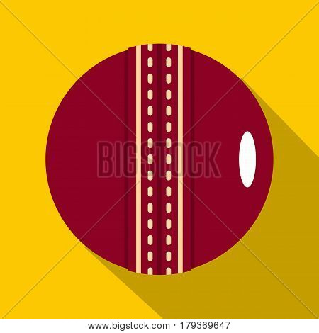 Red leather cricket ball icon. Flat illustration of red leather cricket ball vector icon for web isolated on yellow background