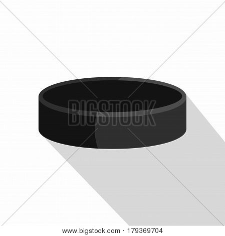 Ice hockey puck icon. Flat illustration of ice hockey puck vector icon for web isolated on white background