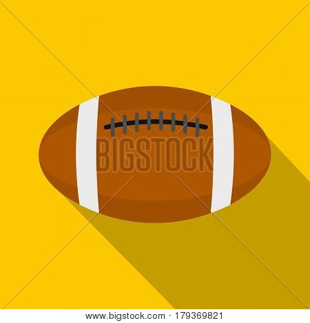 Brown leather rugby ball icon. Flat illustration of brown leather rugby ball vector icon for web isolated on yellow background