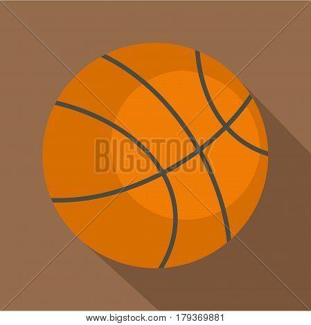 Orange basketball ball icon. Flat illustration of orange basketball ball vector icon for web isolated on coffee background