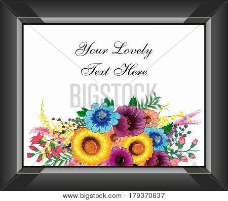 Beautiful Creative Flower Bouquet Art Work with Black Photo Frame Write Something for your Near or stick there photo...