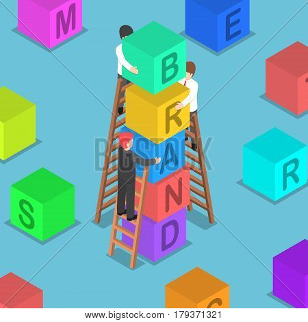Isometric Businessman Building Brand Block