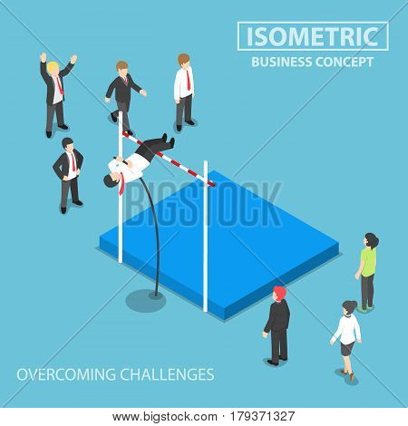 Isometric Businessman Doing The Pole Vault