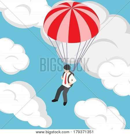 Isometric Businessman Flying With Parachute