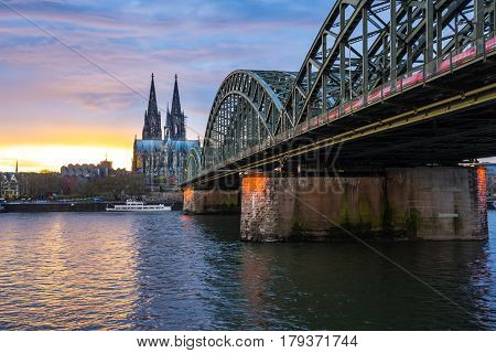 Night In Cologne And View Of Cologne Cathedral In Cologne, Germany